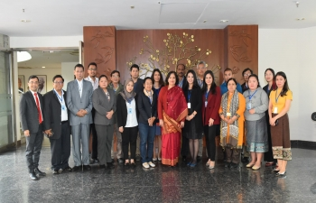 Under the rubric of ASEAN-India Commemorative Summit, 19 journalists from ASEAN, on familiarization visit to India called on Secretary (East) Smt. Preeti Saran on 22 Jan 18