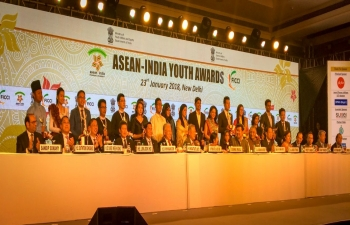 External Affairs Minister, Smt Sushma Swaraj emphasizes on youth power at the ASEAN India Youth Award on 23 Jan 2018, one of the penultimate events in run-up to the ASEAN India Commemorative Summit