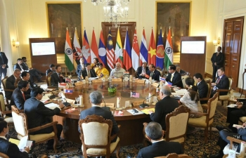 PM Narendra Modi interacted with ASEAN HoS/HoGs and ASEAN Secretary General during a retreat meeting on 25 Jan 2018.