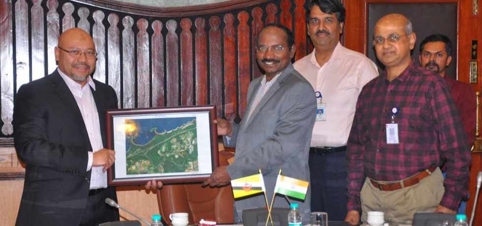 His Excellency Dato Abdul Mutalib, Minister for Communications, Government of Brunei Darussalam met with Mr. K. Sivan Chairman, Indian Space Research Organisation (ISRO) at ISRO Headquarters in Bengaluru on 23rd July 2018.  Shri Sivan also handed over a memento showcasing ISRO's remote sensing capabilities to Minister Mutalib.